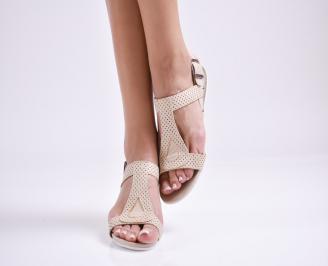 Дамски равни сандали  естествена кожа бежови JMTG-27641