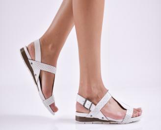 Дамски равни  сандали естествена кожа бели VJVI-27642