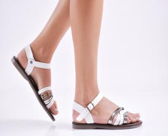 Дамски равни  сандали естествена кожа бели NIJU-27644