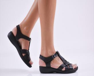 Дамски равни сандали  естествена кожа черни JWXA-27646