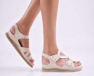 Дамски равни сандали  естествена кожа бежови DWGZ-27655