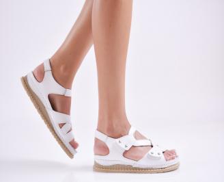 Дамски равни  сандали естествена кожа бели OWKI-27672