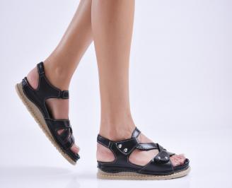 Дамски равни сандали  естествена кожа черни FHDZ-27682