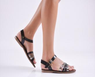 Дамски равни  сандали естествена кожа черни OVSF-27696