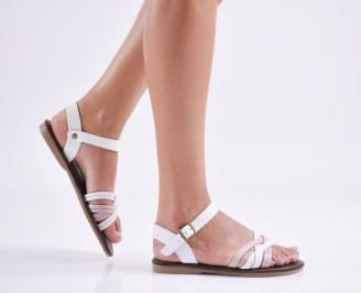 Дамски равни  сандали естествена кожа бели KUTR-27697