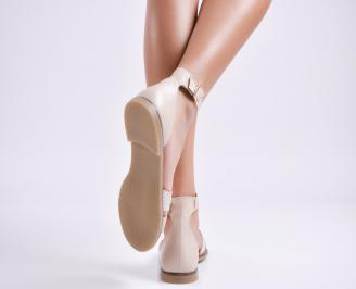 Дамски равни сандали  естествена кожа бежови HOHX-27704