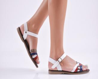 Дамски равни  сандали естествена  кожа бели FORE-27713