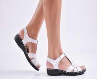 Дамски равни  сандали естествена  кожа бели GFLE-27715