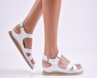 Дамски равни  сандали естествена  кожа бели NKBQ-27725