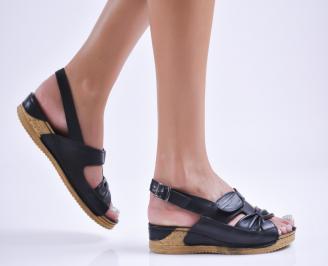 Дамски равни сандали  естествена кожа черни ZOMU-27731