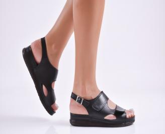 Дамски равни сандали  естествена кожа черни IKPM-27735