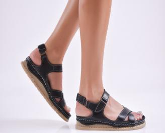Дамски равни сандали  естествена кожа черни BQIH-27739