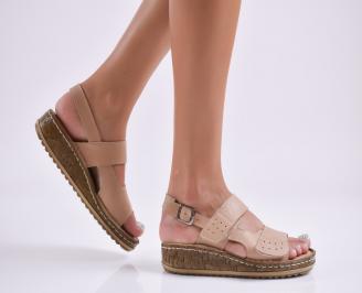 Дамски равни сандали  естествена кожа бежови XWQQ-27744