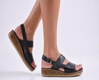 Дамски равни сандали  естествена кожа черни HEVM-27757