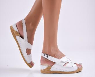 Дамски равни сандали  естествена кожа бели UONV-27761
