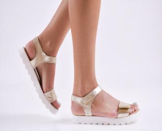 Дамски равни  сандали естествена кожа златисти ZQQK-27845
