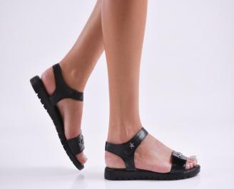 Дамски равни сандали  естествена кожа черни KHSO-27846
