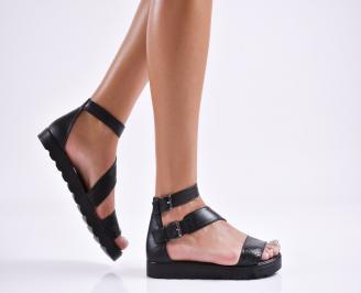 Дамски равни сандали  естествена кожа черни JRVC-27853