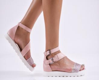 Дамски равни сандали  естествена кожа пудра QMPG-27854