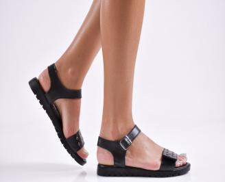 Дамски равни сандали  естествена кожа черни YEHL-27855
