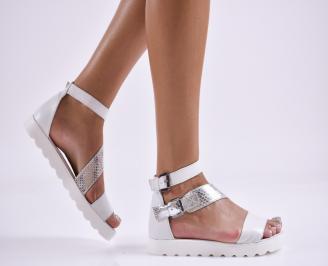 Дамски равни сандали  естествена кожа бели EOCN-27857