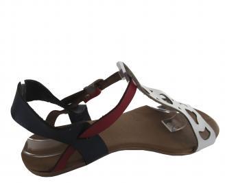 Дамски равни сандали естествена кожа в бяло/синьо/червено GUII-19582
