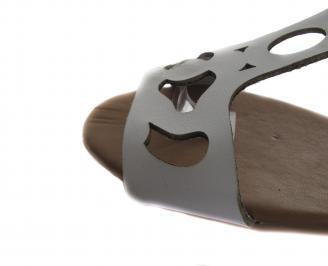 Дамски равни сандали естествена кожа бели SXXJ-19588