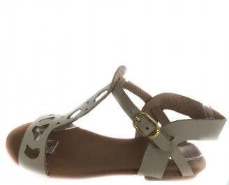 Дамски равни сандали естествена кожа бежови PMOX-19590