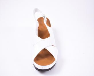 Дамски равни сандали Гигант  естествена кожа бели OHVM-1012220