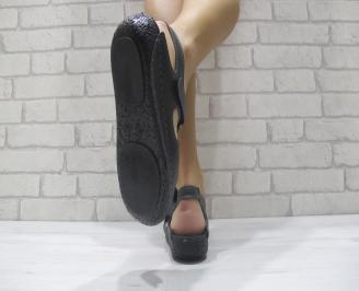 Дамски равни сандали-Гигант естествена кожа черни LIMA-24119