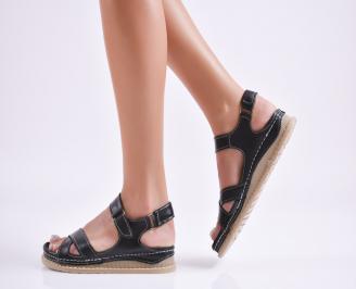 Дамски равни сандали Гигант  естествена кожа черни EXJJ-27740