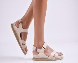 Дамски равни сандали Гигант  естествена кожа бежови VHJM-27759