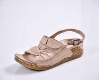 Дамски равни сандали-Гигант  естествена кожа бежови ZPGI-27771