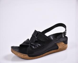 Дамски равни сандали Гигант   естествена кожа черни HQIX-27772