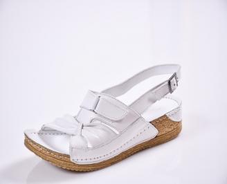 Дамски равни сандали Гигант  естествена кожа бели JKKL-27797