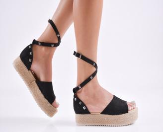 Дамски  равни сандали   набук черни AVOW-27781