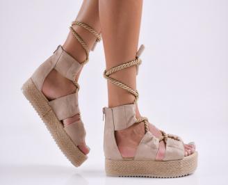 Дамски равни сандали  набук бежови ZEBH-27799