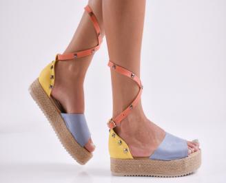 Дамски равни сандали  набук шарени WHFW-27801