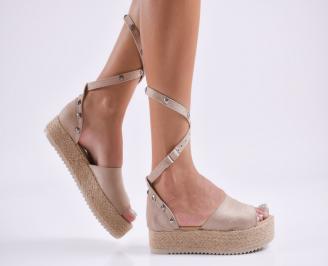 Дамски равни сандали  набук бежови GFRA-27811