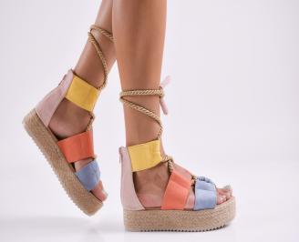 Дамски равни сандали  набук шарени CFCM-27814