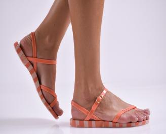 Дамски равни  сандали оранжеви AECN-27320