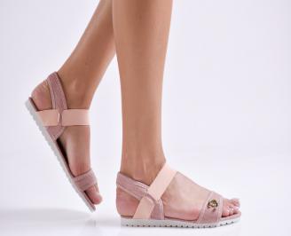 Дамски равни  сандали розови текстил XEMO-24114