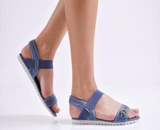 Дамски равни  сандали сини текстил WUXM-24116