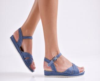 Дамски равни  сандали сини текстил UBDC-24156