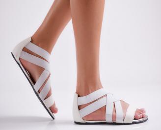 Дамски равни сандали текстил бели QFZF-24024