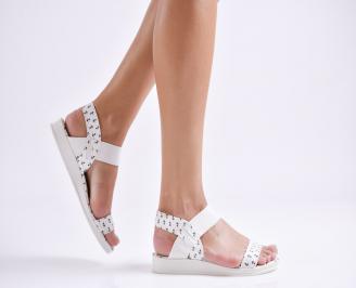 Дамски равни сандали текстил бяло/черно PIKG-24040