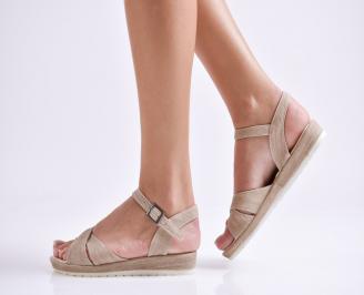 Дамски равни  сандали  текстил светло кафяви JIZT-24169