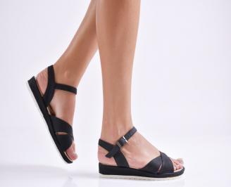 Дамски равни  сандали  текстил черни FTZR-24178