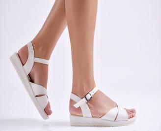 Дамски равни  сандали  текстил бели FKLQ-24179
