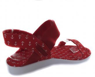 Дамски равни сандали текстил червени WEKL-19644